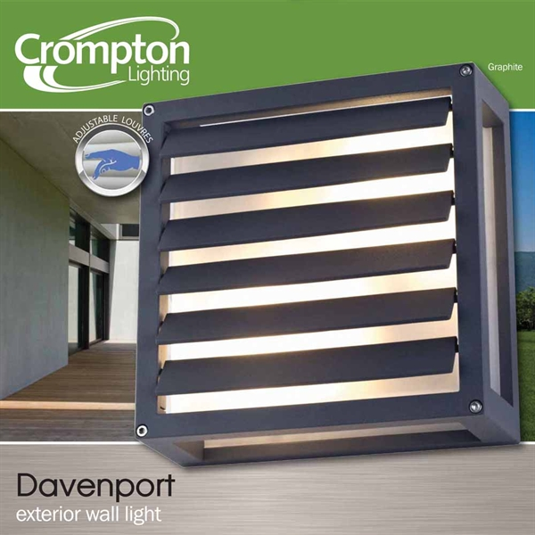 Davenport Square Exterior Wall Light (EX5643G 26908) Crompton Lighting Bright Lighting